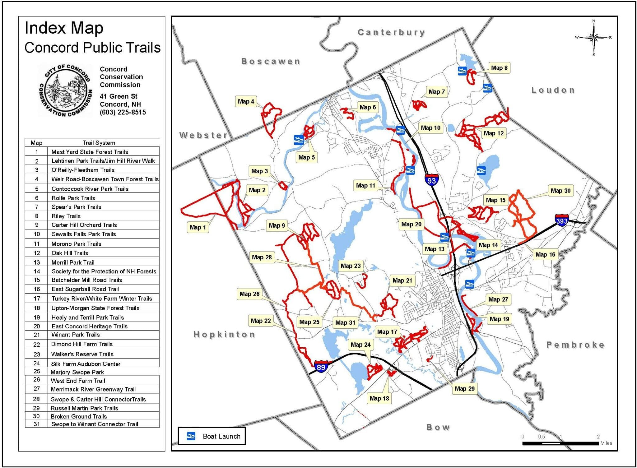 Hiking Trails provided by the city of Concord, New Hampshire