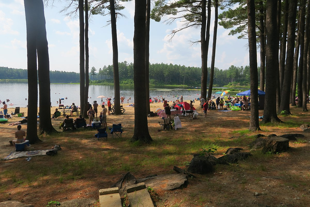 People on the Beach at Clough State Park, Weare NH